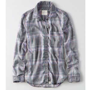 American Eagle Washed Plaid Boyfriend Shirt
